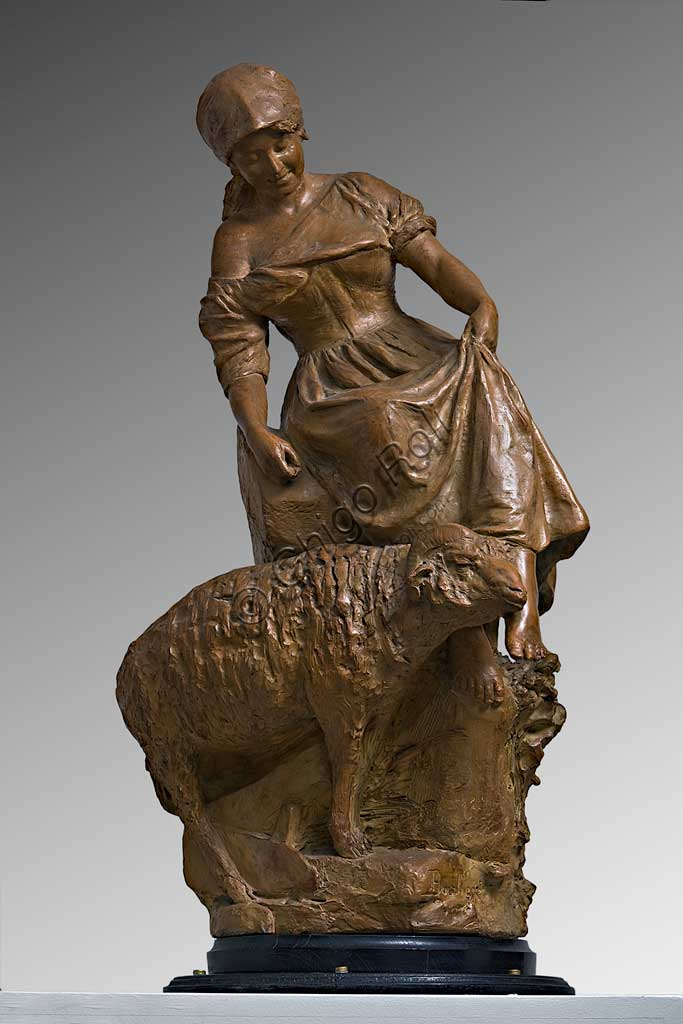"Assicoop - Unipol Collection: Silvestro Barberini (1854 - 1916), ""Female Sheperd with a Goat""; terracotta."