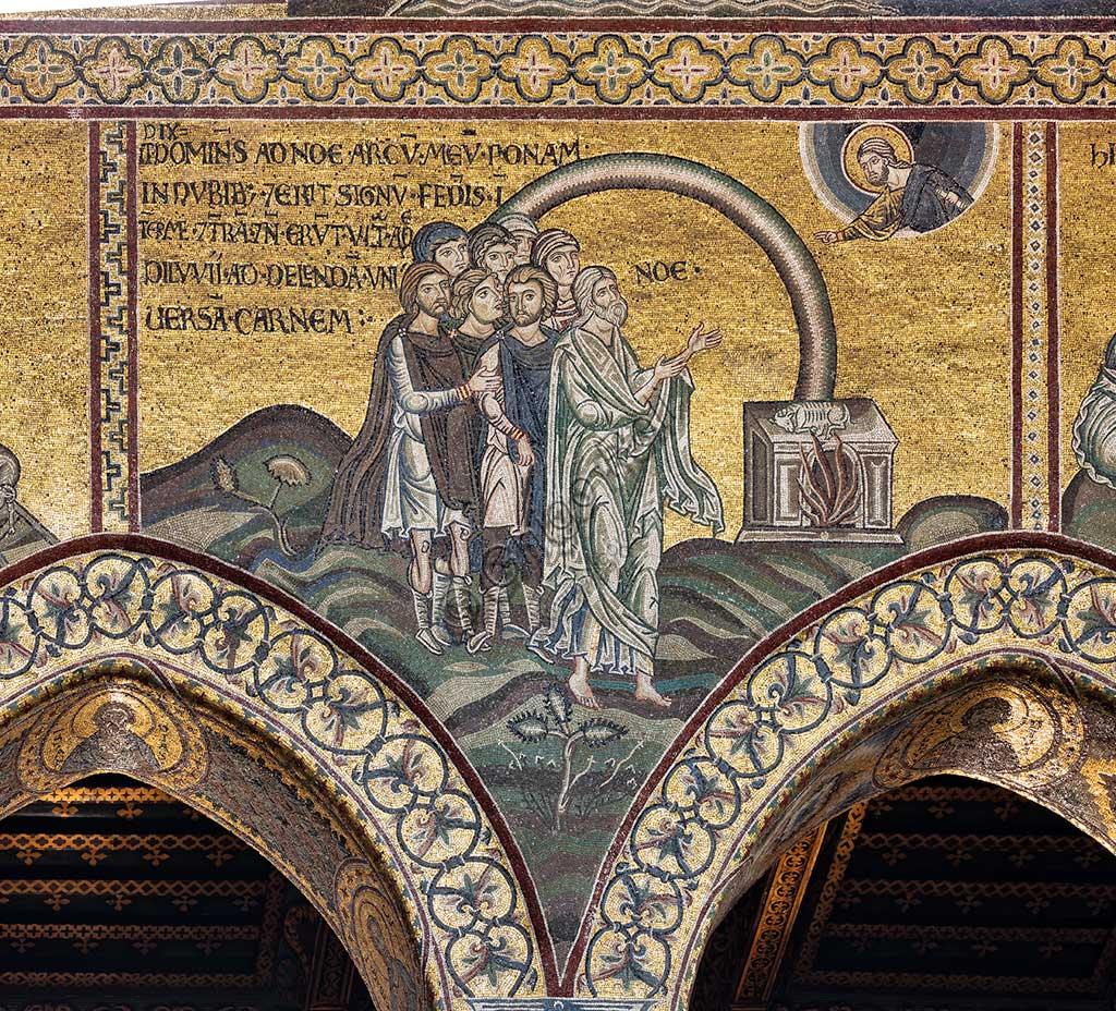 """Monreale, Duomo: """"The pact of the rainbow."""" Old Testament Cycle - The Great Flood, Byzantine mosaics, 12th - 13th centuriesLatin inscription: """"DIXIT DOMINUS AD NOE, ARCUM MEUM PONAM IN NUBIBUS ET ERIT SIGNUM FŒDERIS INTER ME ET TERRAM ET NON ERUNT AMPLIUS DILUVII AD DELENDA UNIVERSAM CARNEM""""."""