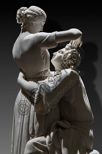 "Alessandro Puttinati:  ""Paul and Virginie"", marble sculpture, 1844. Detail."