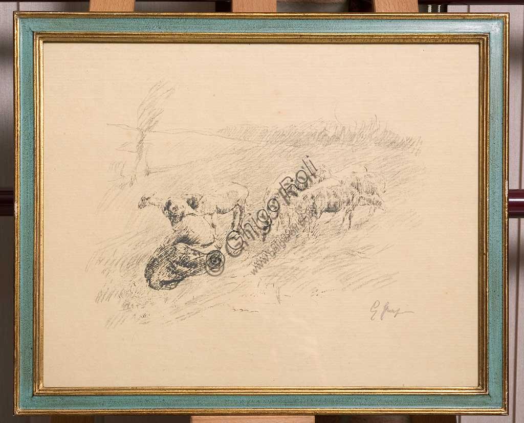 """Collezione Assicoop - Unipol: Giuseppe Graziosi (1879-1942), """"Pecore al pascolo"""", litografia su carta su carta."""