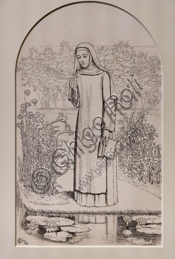 """""""Convent Thoughts""""  (1853)  by Charles Allston Collins (1828 - 73);  ink on paper."""