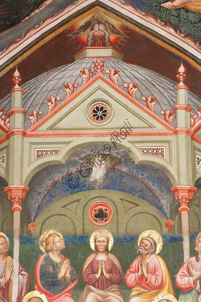"""Rocca di Vignola, Cappella Contrari, parete orientale: """"Pentecoste"""", affresco del Maestro di Vignola, anni Venti del Quattrocento. Particolare."""