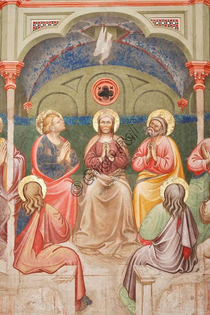"""Rocca di Vignola, Cappella Contrari, parete orientale: """"Pentecoste"""", affresco del Maestro di Vignola, anni Venti del Quattrocento. Particolare con santi  e Maria Vergine in preghiera, e la colomba."""