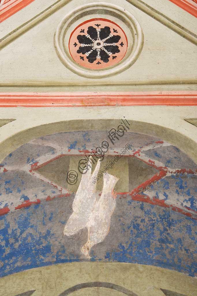 """Rocca di Vignola, Cappella Contrari, parete Ovest """"Pentecoste"""", affresco del Maestro di Vignola, anni Venti del Quattrocento. Particolare con colomba."""