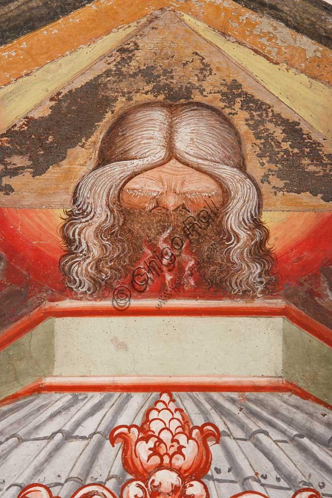 """Rocca di Vignola, Cappella Contrari, parete Ovest """"Pentecoste"""", affresco del Maestro di Vignola, anni Venti del Quattrocento. Particolare  con Dio Padre."""