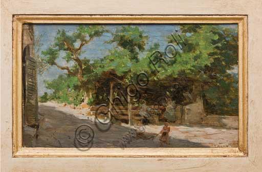 """Collezione Assicoop - Unipol, inv. n° 465 :  Giovanni Muzzioli (1854 - 1894); """"Il pergolato""""; olio su tavola."""
