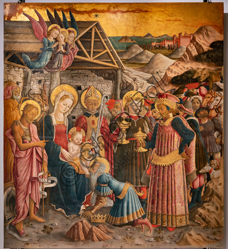 Perugia, Galleria Nazionale dell'Umbria: Adorazione dei Magi, di Benedetto Bonfigli,1466, dipinto su tavola.