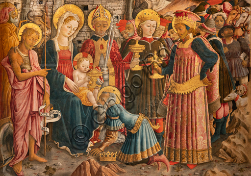Perugia, National Gallery of Umbria: Adoration of the Magi, by Benedetto Bonfigli,1466, painting on panel. Detail.