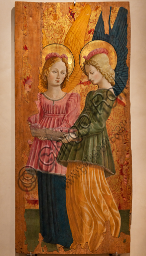 Perugia, National Gallery of Umbria: Angels offering roses, by Benedetto Bonfigli,1466, tempera on panel.