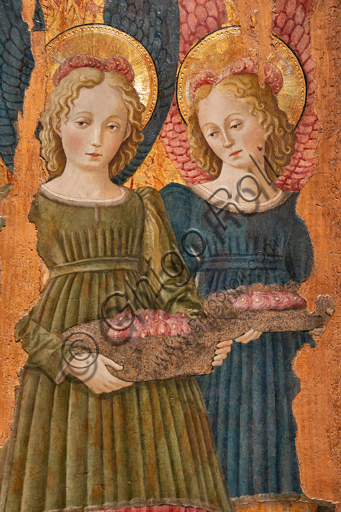 Perugia, National Gallery of Umbria: Angels offering roses, by Benedetto Bonfigli,1466, tempera on panel. Detail.