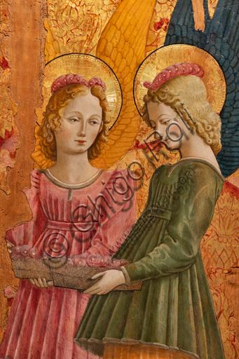 Perugia, Galleria Nazionale dell'Umbria: Angeli che offrono rose, di Benedetto Bonfigli,1466, dipinto su tavola. Particolare.
