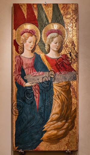 Perugia, Galleria Nazionale dell'Umbria: Angeli che offrono rose, di Benedetto Bonfigli,1466, dipinto su tavola.