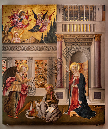 Perugia, National Gallery of Umbria: Annunciation of the Notaries, by Benedetto Bonfigli,1450-3, tempera on panel.