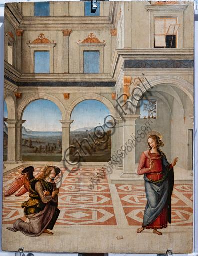 Perugia, Galleria Nazionale dell'Umbria: Annunciazione, di Pietro di Cristoforo Vannucci, detto il Perugino, 1475 o 1493, tempera su tavola.