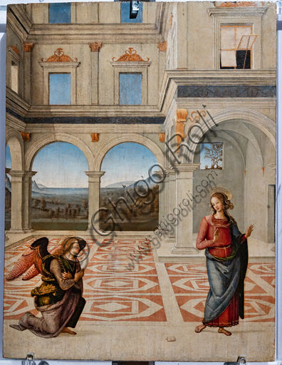 Perugia, National Gallery of Umbria: Annunciation, by Pietro di Cristoforo Vannucci, known as Perugiano, 1475 or 1493, tempera on panel.