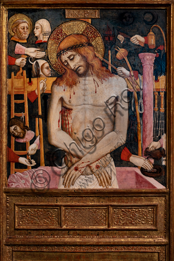"""Perugia, National Gallery of Umbria: """"Arma Christi (Dead Christ and symbols of the Passion), by circle of Mariano d'Antonio, 1440-50, tempera on panel."""