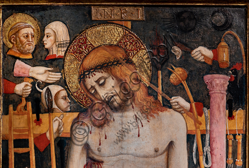 """Perugia, National Gallery of Umbria: """"Arma Christi (Dead Christ and symbols of the Passion), by circle of Mariano d'Antonio, 1440-50, tempera on panel. Detail."""
