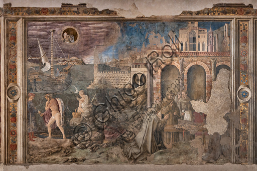 Perugia, National Gallery of Umbria, Chapel of the Priors: Cycle dedicated to the Stories of St. Ludovic of Toulouse and St. Herculanus, realised between 1454 and 1480. Frescoes. The cycle is characterized by views and monuments of the fifteenth-century Perugia.