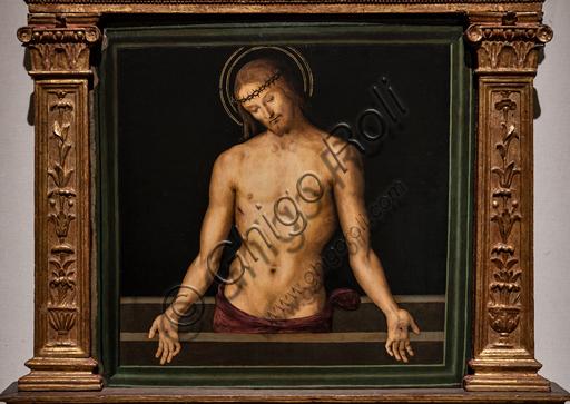Perugia, Galleria Nazionale dell'Umbria: Cristo in pietà, cimasa della Pala dei Decemviri, 1495, di Pietro di Cristoforo Vannucci, conosciuto come il Perugino. Tempera su tavola.