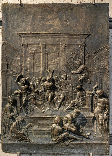 Perugia, National Gallery of Umbria: Flagellation, Francesco di Giorgio Martini, embossed bronze, bronze bas-relief 1480-5.