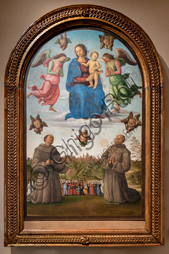 Perugia, National Gallery of Umbria: Banner of Justice (Madonna with Child and angels above, below saints Francis and Bernardino, in the background the city of Perugia with people and confreres), by Pietro di Cristoforo Vannucci, known as Perugino, around 1496, oil and tempera painting on canvas.