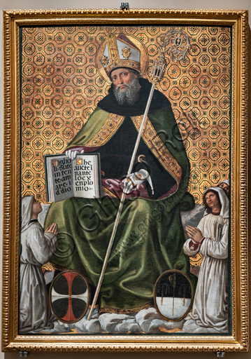 Perugia, National Gallery of Umbria: Banner of St. Augustine, by Bernardino di Betto known as il Pinturicchio, 1499, tempera on silk.