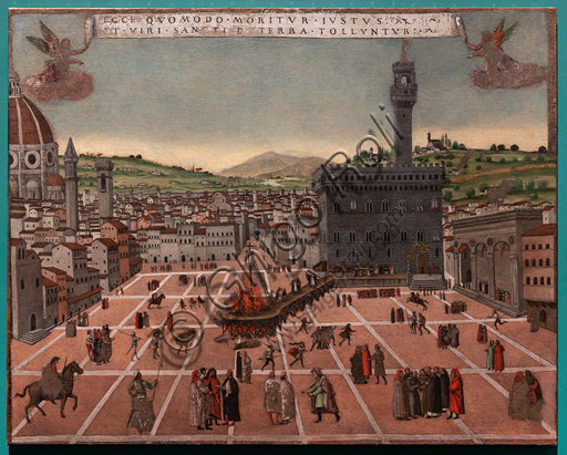 """Perugia, National Gallery of Umbria: """"The burning at the stake of Fra' Girolamo Savonarola in Piazza della Signoria"""", from a Florentine prototype of the late fifteenth century, sixteenth century, tempera on canvas."""