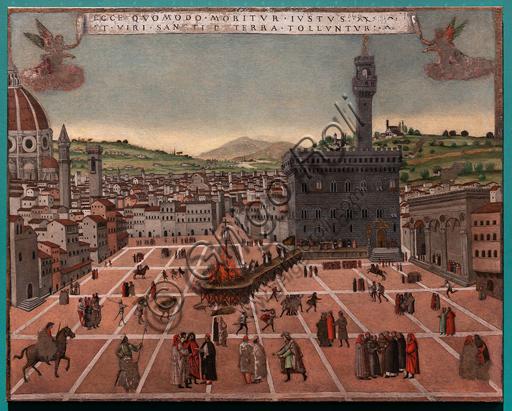 """Perugia, Galleria Nazionale dell'Umbria: """"Il supplizio di Fra' Girolamo Savonarola in piazza della Signoria"""", da un prototipo fiorentino di fine Quattrocento, XVI secolo, tempera su tela."""