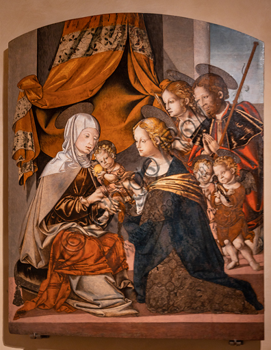 Perugia, National Gallery of Umbria: Madonna with Child and St. Anne, Roch and Sebastian by Bernardino di Mariotto, 1530-3, tempera on panel.