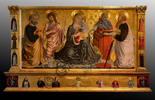 """Perugia, National Gallery of Umbria: """"Madonna of Humility among Saints Peter, John the Baptist, Jerome and Paul """", by Benozzo di Lese, detto Benozzo Gozzoli, 1456, tempera on panel."""