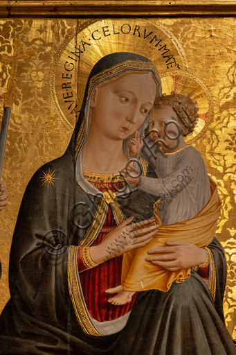 """Perugia, National Gallery of Umbria: """"Madonna of Humility among Saints Peter, John the Baptist, Jerome and Paul """", by Benozzo di Lese, detto Benozzo Gozzoli, 1456, tempera on panel. Detail."""
