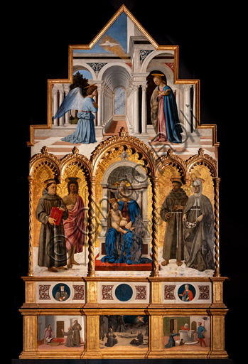 Perugia, National Gallery of Umbria: Polyptych of S. Antonio, by Piero della Francesca, 1467-9, oil on panel. Cymatium: Annunciation. Left: St. Anthony of Padua and St. John the Baptist. At the centre Madonna and Child. On the right, St. Francis and St. Elizabeth of Hungary. Upper predella: S. Clareand S. Agatha. Lower predella: The miracle of St. Anthony of Padua, the stigmata of St. Francis and the miracle of St. Elizabeth of Hungary.