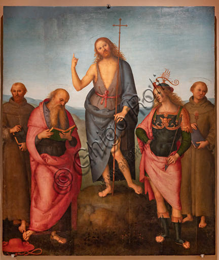Perugia, National Gallery of Umbria: St. John the Baptist among the Saints Francis, Jerome, Sebastian and Anthony of Padua, 1500-10, tempera and oil on panel, by Pietro di Cristoforo Vannucci, known as Perugino.