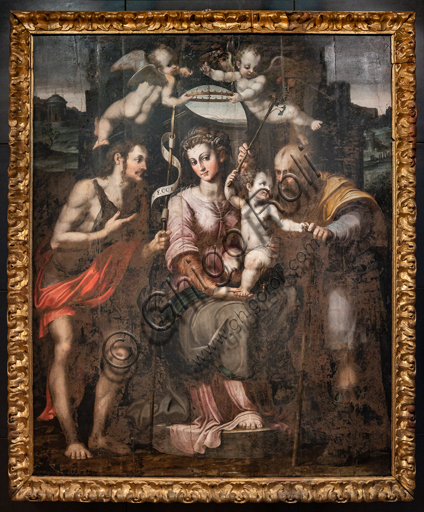 Perugia, National Gallery of Umbria: Holy Family and St. John the Baptist,  by Raffaellino di Michelangelo, known as Raffaellino del Colle, 1560, oil painting on panel.