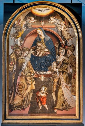 Perugia, National Gallery of Umbria: Mystic marriage of Saint Catherine (with a bishop, Infant St. John, Magdalene and Peter), by Bernardino di Mariotto, 1530-3, tempera on panel.