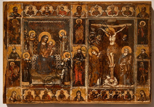 Perugia, National Gallery of Umbria: Votive tablet with Madonna and Child, Crucifixion and saints, by Puccio Capanna, 1335 - 45, tempera on parchment.