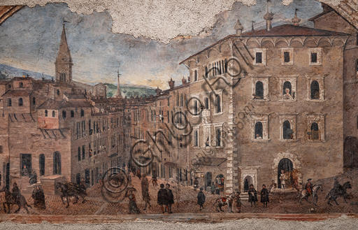 Perugia, Galleria Nazionale dell'Umbria: Veduta di Palazzo Pontani nel Borgo di S. Pietro, di Giovan Battista Caporali , 1535, affresco staccato.