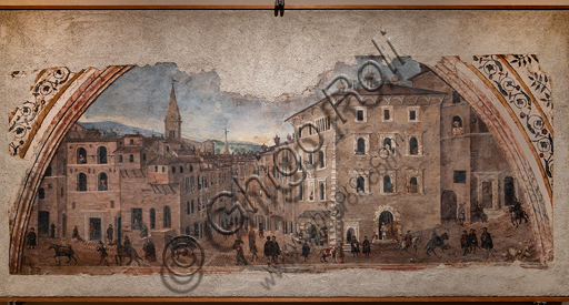 Perugia, National Gallery of Umbria: View of Pontani Palace in the Borgo St. Peter, by Giovan Battista Caporali, 1535, detached fresco.