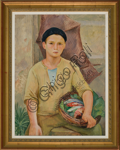 "Mario Vellani Marchi (1895 - 1979): ""Burano Fisherman""; (oil painting on plywood, 80 X 60 cm)."
