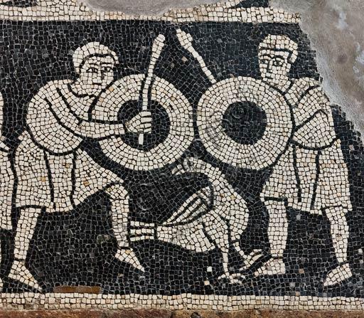 Piacenza, Basilica di San Savino, cripta, mosaico pavimentale dedicato ai segni zodiacali (secolo XII): particolare.
