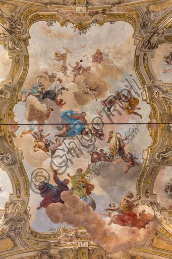 Piacenza, former S.Vincent Church, the Teatini Room: the XVIII century frescoes in the vault.