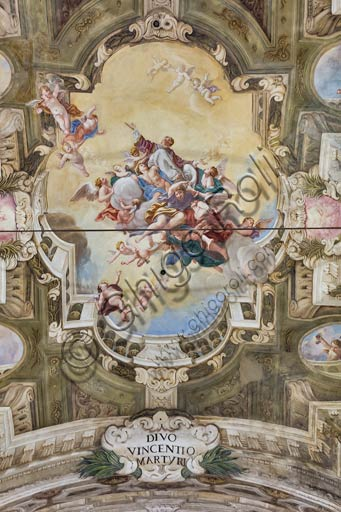 Piacenza, former S.Vincent Church, the Teatini Room: the XVIII century frescoes.