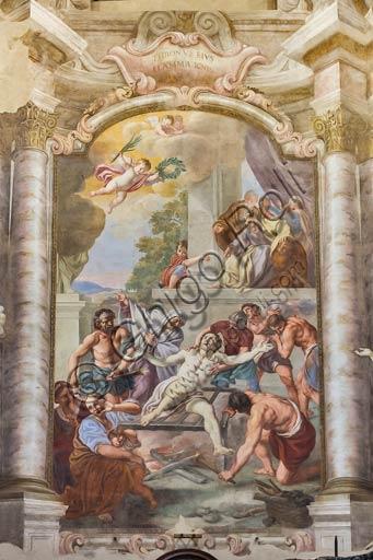 Piacenza, ex Chiesa di San Vincenzo, Sala dei Teatini: martirio di San Lorenzo; affreschi del XVIII secolo.