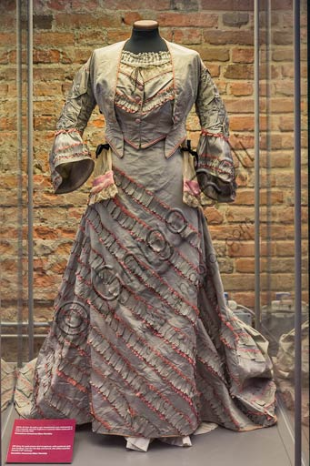 Piacenza, Farnese Palace, Municipal Museums, the Carriage Museum: female evening party dress (XIX century).