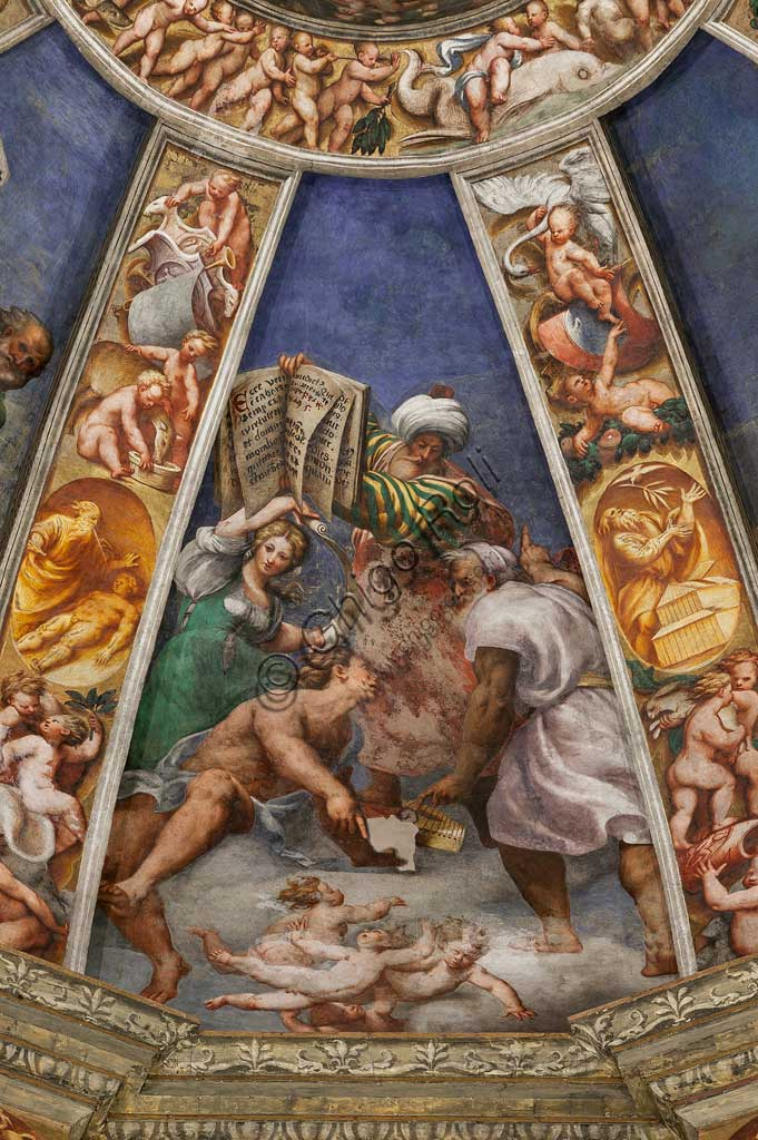 Piacenza, Sanctuary of the Madonna della Campagna: the dome of the transept: one of the segments of the cap with the prophets. Fresco by Giovanni Antonio de Sacchis, known as il Pordenone  (1530 -1532).