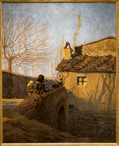 "Telemaco Signorini: ""Piagentina. The bridge on the Affrico Creek"",  1861-2, oil painting on canvas."