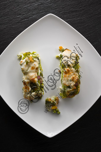 A dish of vegetarian lasagne, made with vegetables instead of the traditionl bolognese sauce.