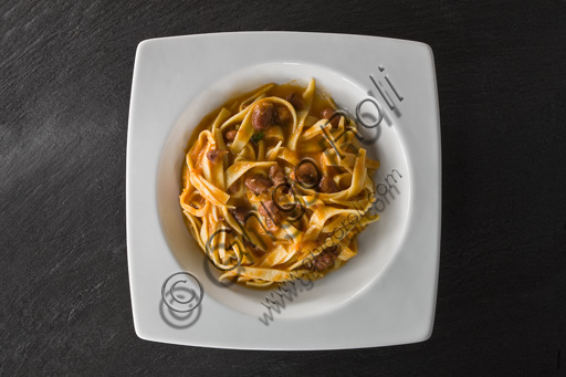A plate of tagliatelle seasoned with ragout (Bolognese sauce).