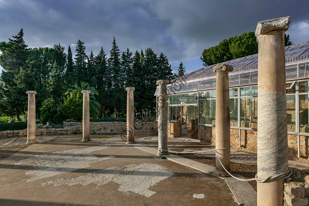 Piazza Armerina, Roman Villa of Casale: view of columns of the villa, which was probably an imperial urban palace. Today it is a UNESCO World Heritage Site.