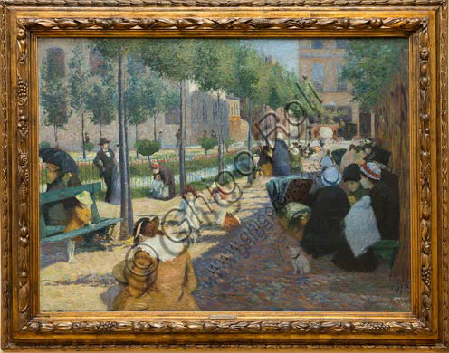 "Piacenza, Galleria Ricci Oddi: ""Antwerp Square in Paris"" (1880), oil painting by Federico Zandomeneghi (1841 - 1917)."